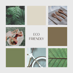 Eco Friendly Instagram Square Collage Green