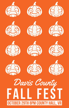 White and Orange Fall Festival Poster Fall