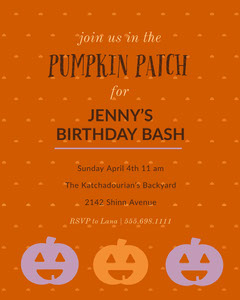Orange and Black Birthday Party Invitation Birthday Bash