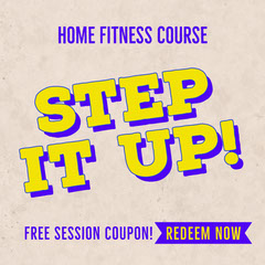Yellow Purple Step It Up Fitness Coupon Instagram Square Gym