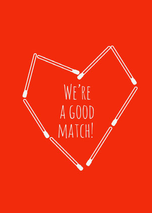 Red Good Match Pun Valentines Day Card Valentines Day Card