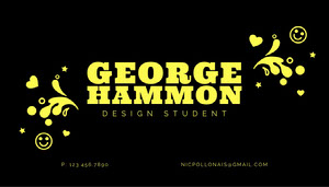 Yellow Graffitti Design Student Business Card Tarjeta de visita