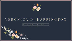 Navy Blue Wedding Place Card Marque-place