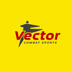 Yellow red and Gray Vector Combat Sports Logo Square Yellow