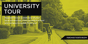 Yellow, Black and White University Tour Ad Facebook Banner Customized Vinyl Banner