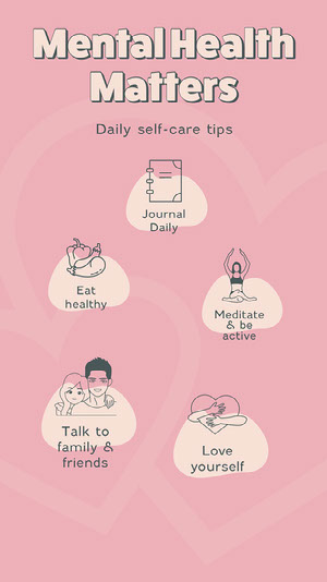 pink hearts mental health matters instagram story  Infographic Examples