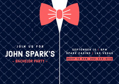 Red and Black Bow Tie Tuxedo Casino Bachelor Party Invitation Card Casino