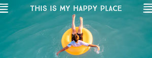 Vacations Facebook Profile Cover with Man in Pool Float Pool Party Invitation