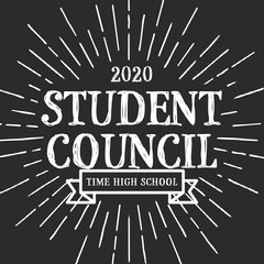 Black and White, Student Council, Instagram Square Student Council Poster