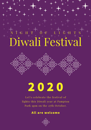 Purple and Yellow, Diwali Event Poster  Diwali