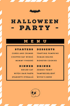Orange, White and Black, Halloween Party Menu Holiday Party Flyer