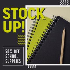 Green & Black School Supplies Instagram Square Back to School
