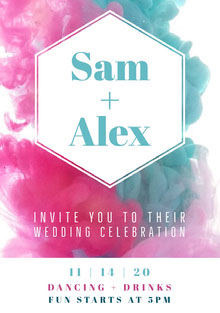 Blue White and Pink Ceremony Invitation Wedding Invitation