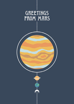 Colorful and Navy, Greetings From Mars, Funny Postcard Earth
