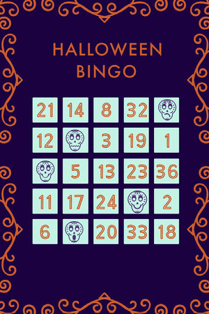 Purple Sugar Skulls Halloween Party Bingo Card Bingokort