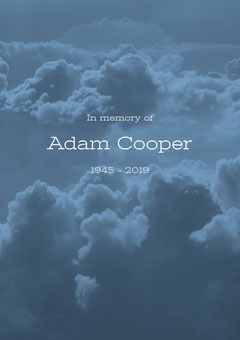 Blue Funeral Invitation Card with Clouds Rest in Peace