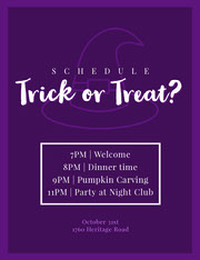 Violet and White Halloween Trick Or Treat Party Party Schedule Festa di Halloween