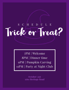 Halloween Trick Or Treat Party Party Schedule Club Party