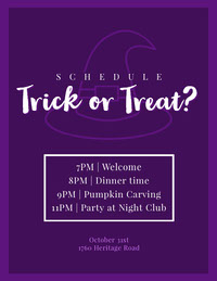 Halloween Trick Or Treat Party Party Schedule Halloween Party