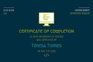 Blue and Green Internship Certificate Internship Certificate