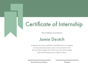 Green Internship Certificate with Ribbon Certificato di diploma