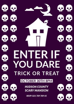 Violet and White Trick Or Treat Party Card Scary