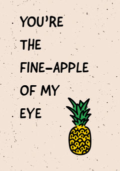 Pink Love Greeting Card with Pineapple Pun Typography