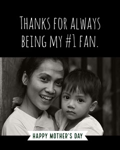 Black and White Mothers Day Card with Picture of Mother and Son Boys