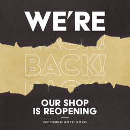 Black and Golden, We are Back Shop Reopening Ad, Instagram Square