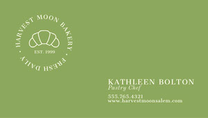Traditional Green Baker Business Card Business Card