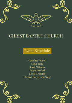Green and Yellow Christ Baptist Church Flyer Religion