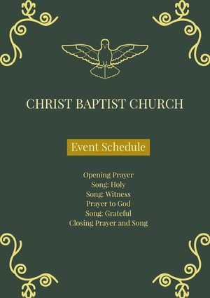 Green and Yellow Christ Baptist Church Flyer Agenda