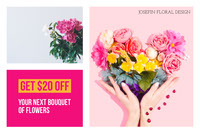 Pink With Flowers Shop Flyer 優惠券