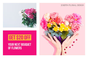 Pink With Flowers Shop Flyer Kupon
