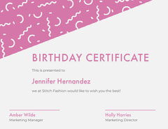 Pink Birthday Certificate with Confetti Confetti