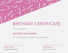 BIRTHDAY CERTIFICATE  Confetti