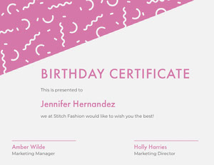 Pink Birthday Certificate with Confetti Birthday Certificate