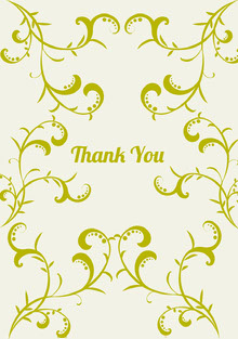Gold Decorative Floral Thank You Greeting Card Tarjetas