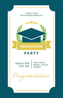 Blue and White Graduation Party Poster School Posters