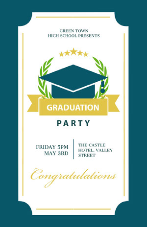Blue and White Graduation Party Poster Graduation Poster