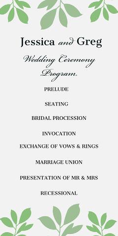 Green Leaves Wedding Program Rustic Wedding Invitation