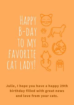 Yellow and White Cat Birthday Card Cat