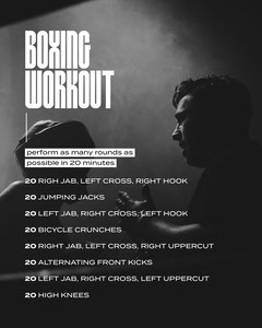 Black White Boxing Workout Instagram Portrait  Workout