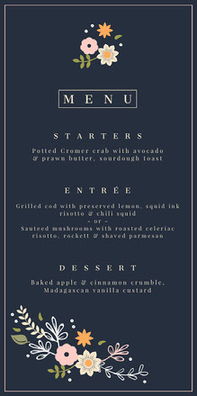Navy Blue Wedding Menu Wedding Menu