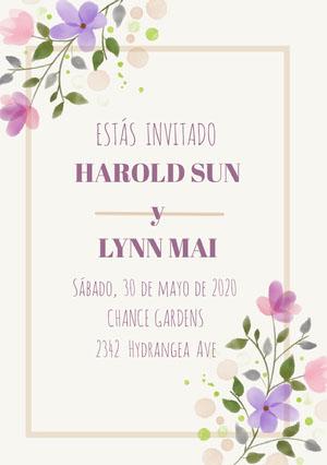cream and purple floral wedding cards  Invitación de boda