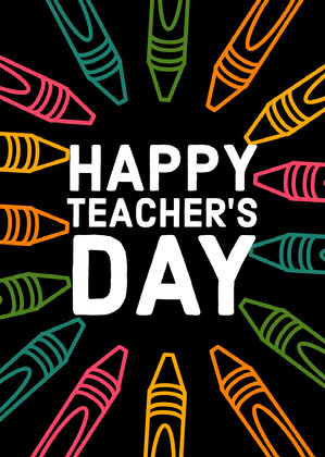 Black Online Teacher's Day Card  Online Teacher's Day Card