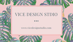 Pink Design Studio Business Card with Palm Leaves Designer