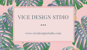 Pink Design Studio Business Card with Palm Leaves Tarjeta de visita