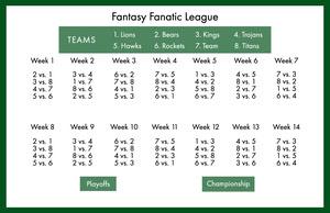 Green Fantasy Football Schedule Fantasy Football Schedule