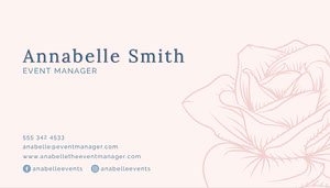 Pink Navy Floral Rose Event Manager Business Card Networking Cards